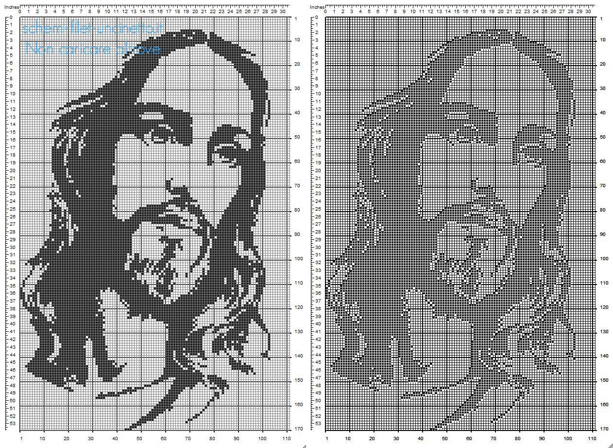 Schema filet uncinetto gratis il volto di Gesù 170 x 110 quadretti categoria religiosi