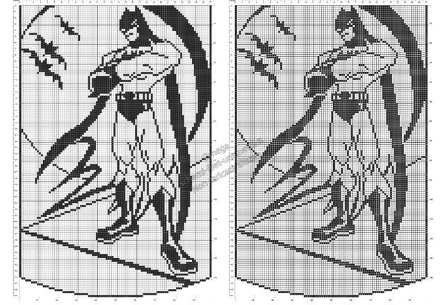 Schema filet uncinetto gratis tendine con il Supereroe Batman 98x149