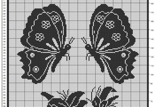 Schema filet uncinetto tenda farfalle e fiori