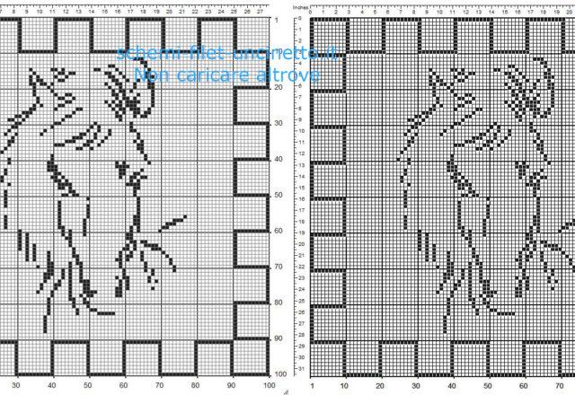 Schema gratis centrino quadrato filet uncinetto con un cavallo 100 quadretti