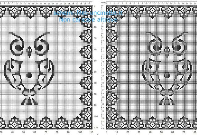 Schema gratuito centrino filet uncinetto quadrato in 100 quadretti con un gufo e cornice ricercata