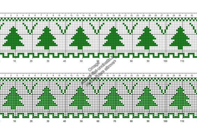 Schema uncinetto filet gratis bordo con alberi Natale altezza 24 quadretti