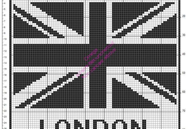 Schema uncinetto filet gratis cuscino casa con bandiera Londra