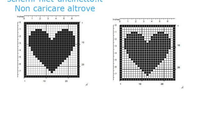 Sottobicchieri filet uncinetto con cuore schema da scaricare gratis 25 quadretti