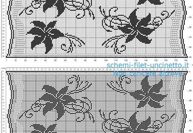 Striscia filet uncinetto gratis con fiori gigli e ponticelli schema da scaricare gratis 180 x 90 quadretti