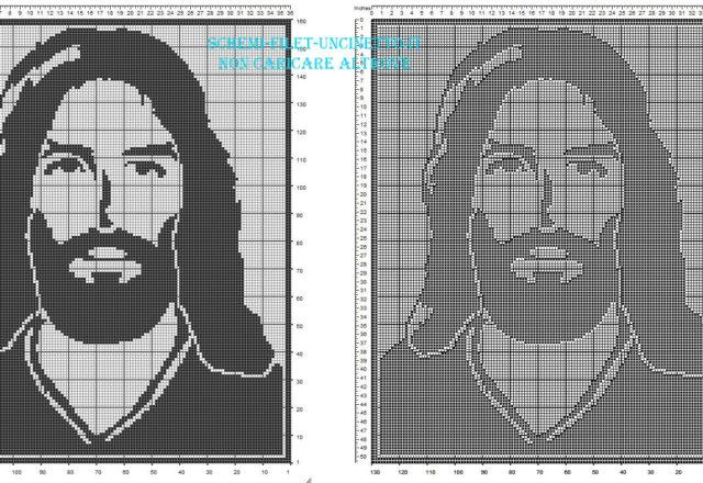 Volto di Gesù schema filet uncinetto gratis nella categoria schemi religiosi