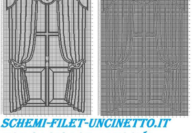 tenda classica con filestra filet uncinetto schema gratis