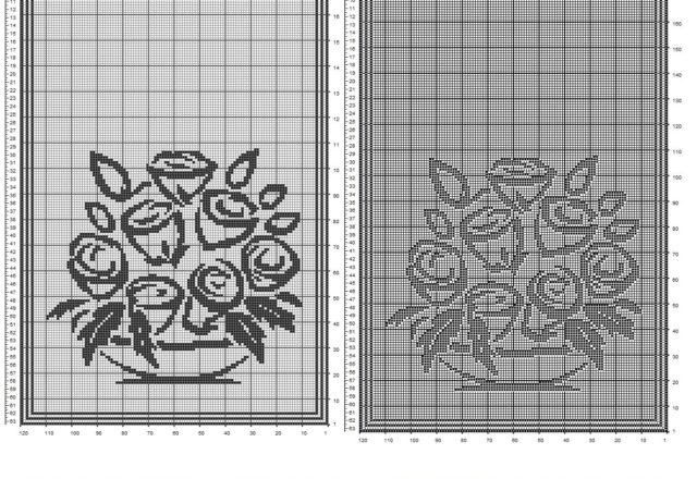 tenda con vaso di rose stilizzate filet uncinetto schema gratis