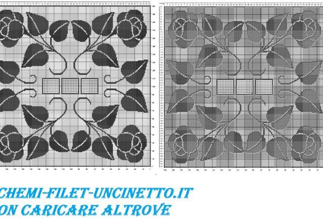 tovaglia quadrata con rose schema punto filet uncinetto gratis