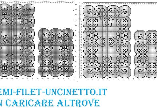 trittico margherite filet uncinetto schema gratis